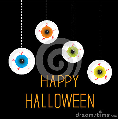 Four hanging eyeballs. Happy Halloween card.