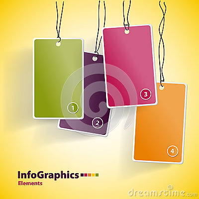 Four hanging multicolor cards