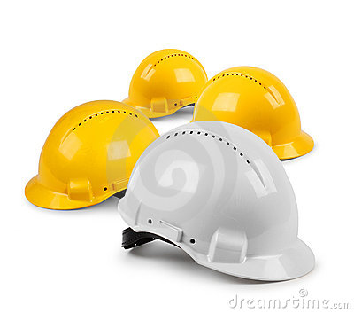 Four hard hat team