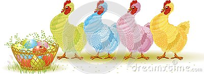 Four hens with Easter eggs