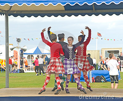 Four Highland Dancers at Nairn. Editorial Image