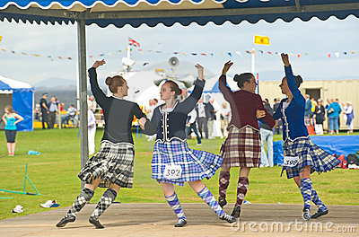 Four Highland Dancers at Nairn. Editorial Photo