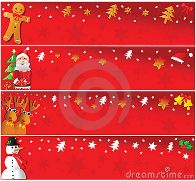 Four horizontal christmas banners.