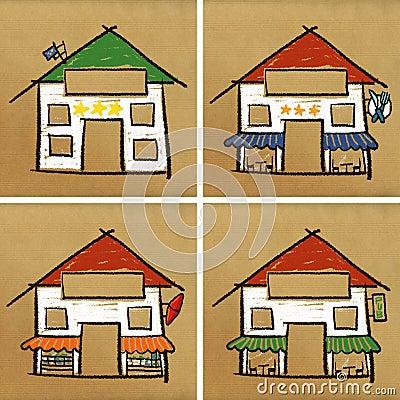 Four houses & service