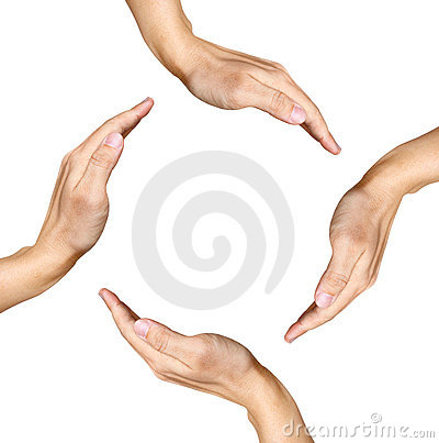 Four human hands making a square shape on white