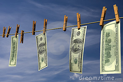 Four hundred dollar bills hanging on a clothesline