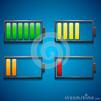 Four icons of charge from maximum to minimum in di