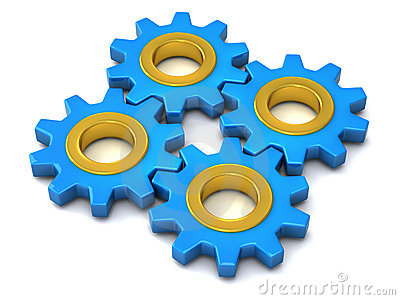 Four identical gears together 3d