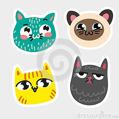 Free Four Isolated Cat Emoji Framed Thick White Line Blue Cat In Speckles Striped Yellow Kitty Siamese Smiley Pussy Royalty Free Stock Image - 118303686