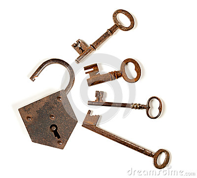 Free Four Keys And A Padlock Royalty Free Stock Photography - 24804227