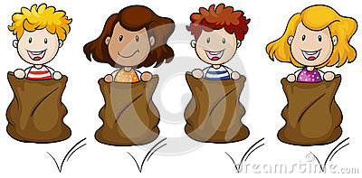 Four kids jumping inside the sack