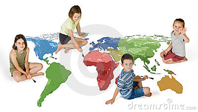 Four kids painting the world
