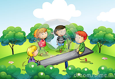 Four kids playing with the seesaw at the hill