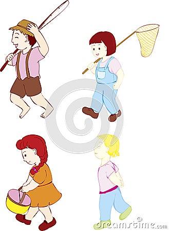 Four kids walking