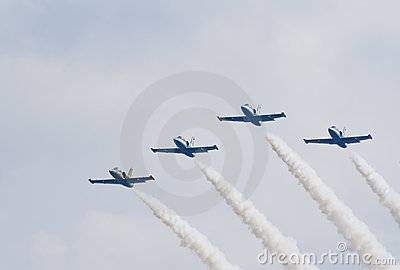 Four L-39 trainer jets from Russ team Editorial Image
