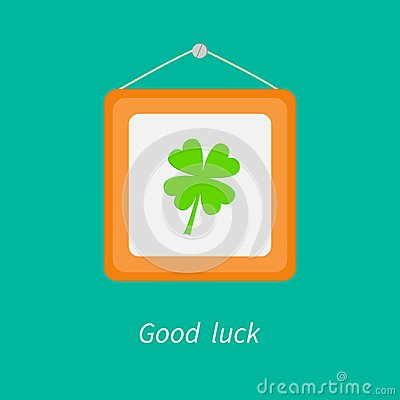Free Four Leaf Clover And Picture Frame On The Wall. Royalty Free Stock Photography - 41600197