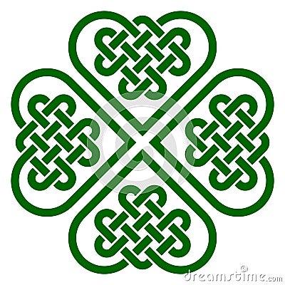 Free Four-leaf Clover Shaped Knot Made Of Celtic Heart Shape Knots Stock Photo - 61390620