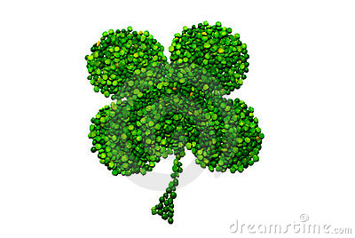 Four-leaf lucky clover made of peas isolated