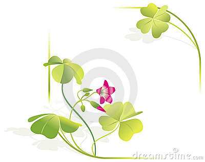 Four-leave clover vector frame