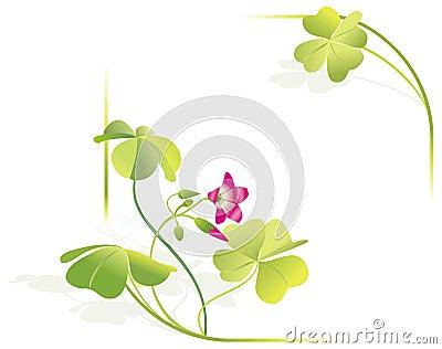 Four-leave clover vector frame