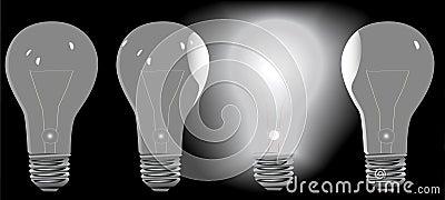 Four Light Bulbs in a Row 3 OFF 1 ON