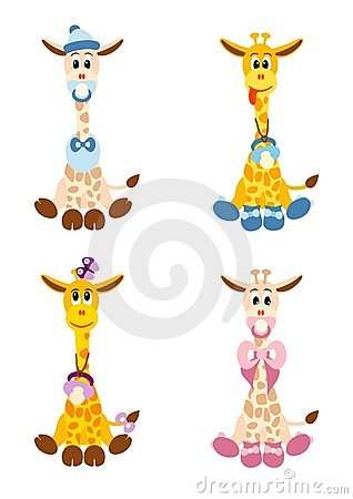 Four little giraffes like newborn babies
