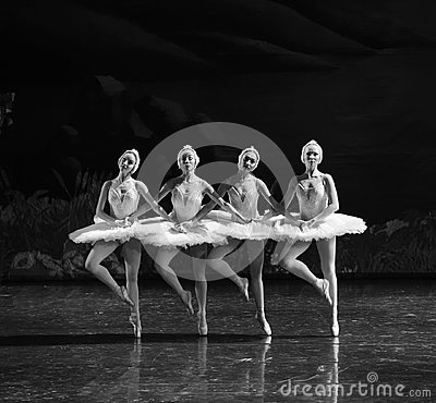 Free Four Little Swan-Classic Black And White-ballet Swan Lake Stock Photo - 48876900