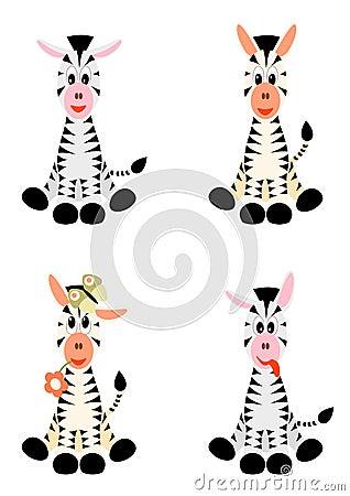 Free Four Little Zebras - Illustration Royalty Free Stock Image - 21439436