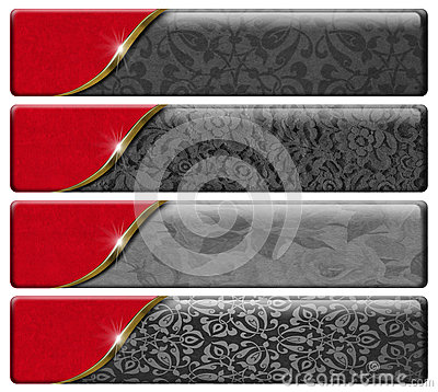 Free Four Luxury Headers With Clipping Path Royalty Free Stock Image - 32411536