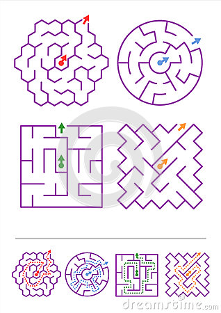 Number Names Worksheets simple maze for kids : Four Maze Games With Answers Stock Vector - Image: 41152152