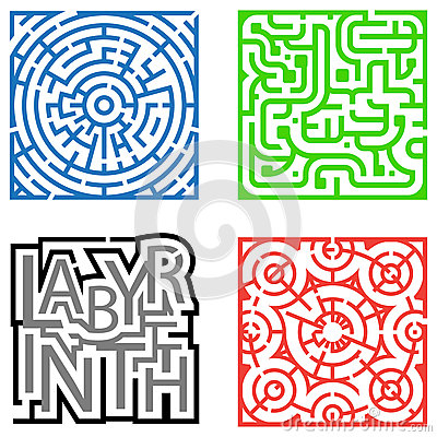 Four Mazes Royalty Free Stock Images - Image: 25374079