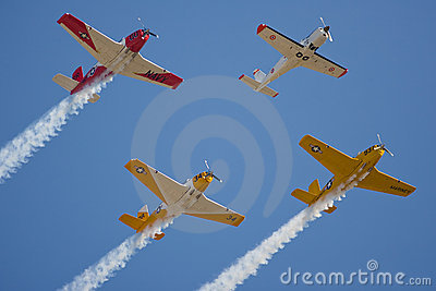 Four military trainers in flight Editorial Image