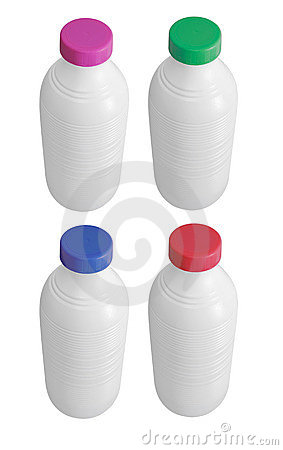 Four milk bottles