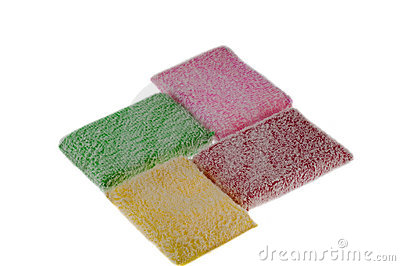Four multi-coloured rags are isolated on the white