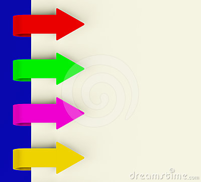Four Multicolored Arrow Tabs Over Paper