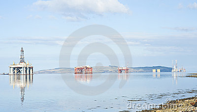 Four oil rigs in the Cromarty Firth.