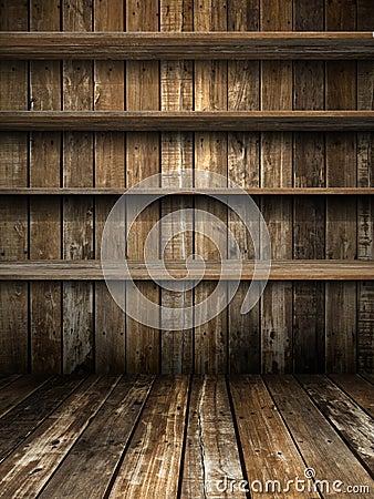 Four Old Grunge Wood Shelf