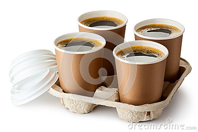 Four opened take-out coffee in holder Stock Photo