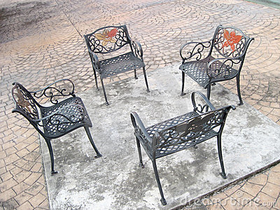Four Outdoor Generic Public chairs