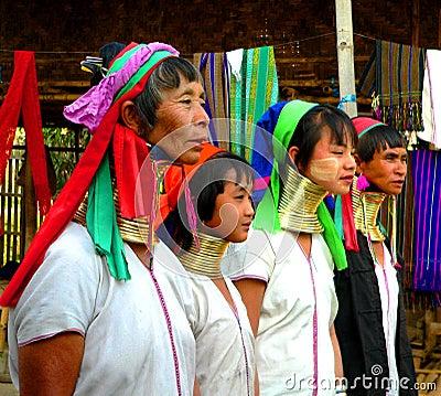 Four Padaung Tribe Ladies Editorial Stock Image