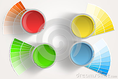 Four paint cans - yellow, red, blue, green on white background