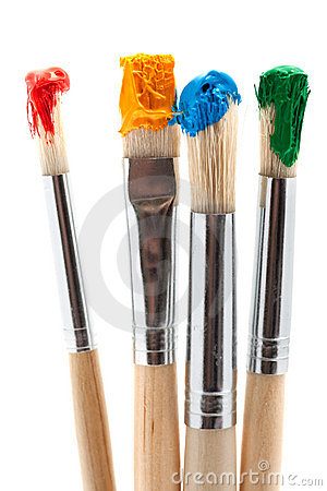 Free Four Paintbrush With Color Stock Photos - 13492953