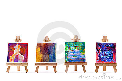 Four paintings on easels  on white