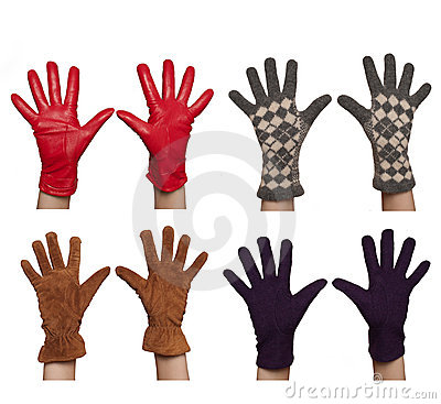 Four pairs of diffrent women`s gloves