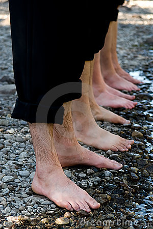 Free Four Pairs Of Wet Feet Royalty Free Stock Photography - 11018617