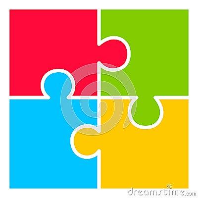 Free Four Part Puzzle Diagram Stock Images - 53432664