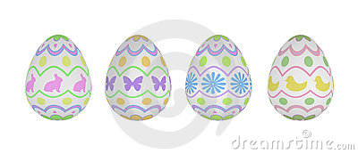 Four Patterned Easter Eggs on White Background