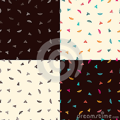 Free Four Patterns With Butterflies Royalty Free Stock Image - 94734476