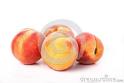 Four Peaches on White
