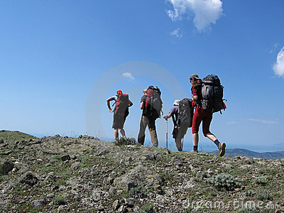 Four people in the backpacking